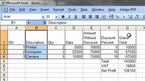 excel format questions bill calculation and pie chart in excel solution to