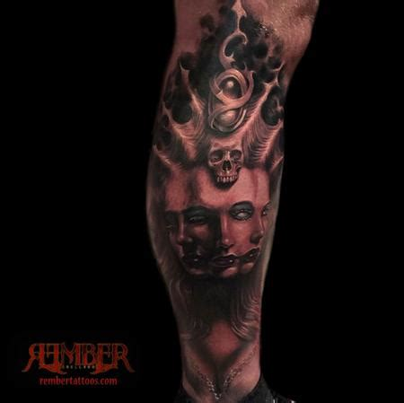 dark age tattoo black and grey realism fusion portrait by rember
