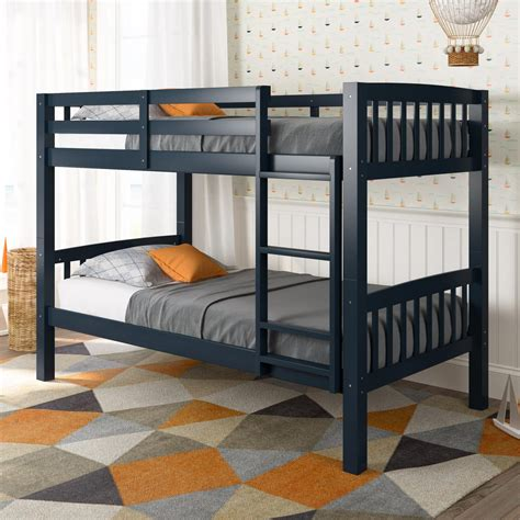 Navy Bunk Bed Corliving Dakota Navy Blue Single Bunk Bed Bdn 220 B The Home Depot