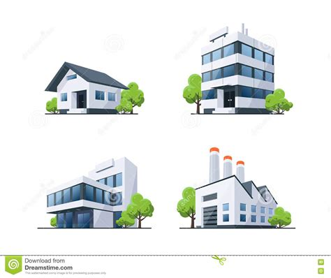 architecture building type identification guide set of four types buildings illustration with trees stock
