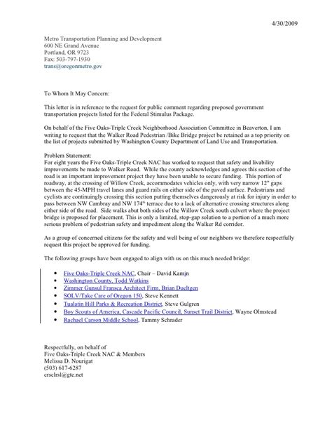 Transit Officer Cover Letter by Jpact Federal Stimulus Transportation Project Request For Comm