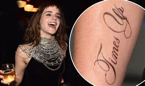 emma watson pokes fun at times up tattoo mishap mafs justin fischer wears drab sandals on day out in