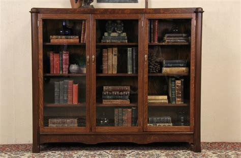 Sold Triple 1900 Antique Oak Bookcase Wavy Glass Doors Oak Bookcases With Glass Doors