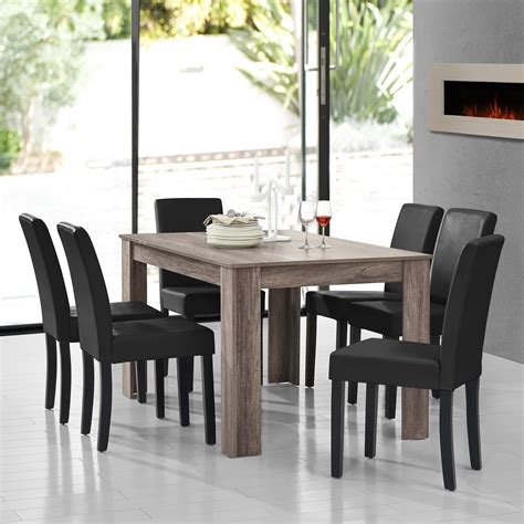 en casa dining table antique oak mit 6 chairs black