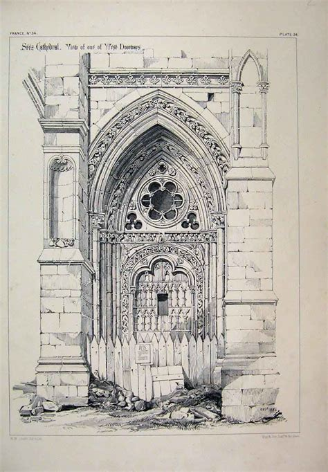 B Arch Sketches by Dating From The 13th And 14th Century Doorway Of
