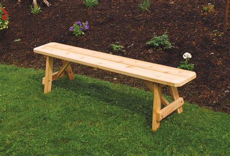 outside wooden benches amish cedar wood traditional backless outdoor bench