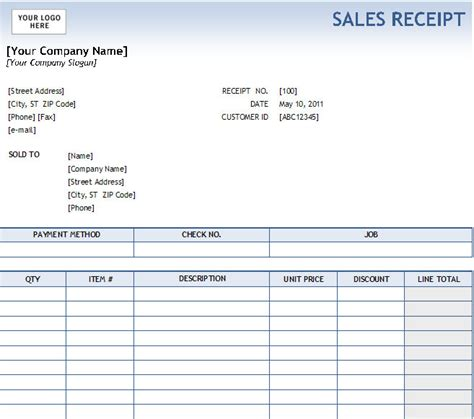 Excel Sales Receipt Template Excel Sales Receipt Excel Receipt Template Cash