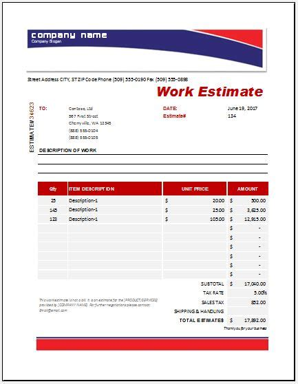 Work Estimate Templates For Ms Excel Word Excel Templates Microsoft Word Estimate Template