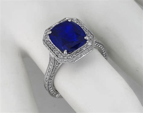 3 75ct ceylon sapphire 2 50ct engagement ring