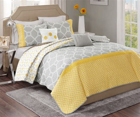 Yellow And Gray Quilt Set living colors clara yellow gray 5 quilt sets big
