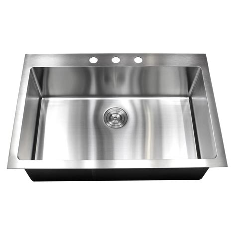 Top Mount Stainless Steel Kitchen Sink 33 Inch Top Mount Drop In Stainless Steel Single Bowl Kitchen Sink 15mm Radius Design