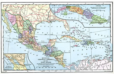 west indies political map mexico central america and the west indies