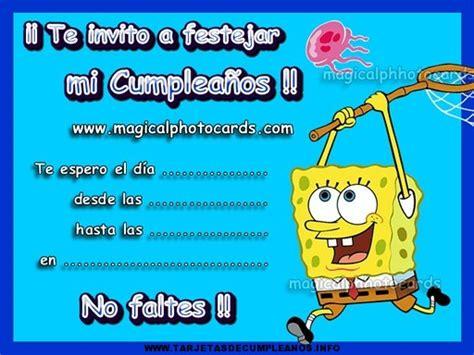 imagenes de feliz cumpleaños bob esponja imprimir lindas tarjetas de cumplea 241 os de bob esponja