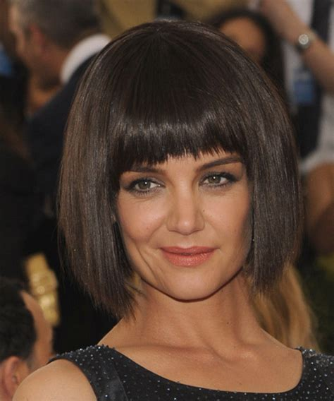 layered long bob katie holmes katie holmes medium straight casual bob hairstyle with