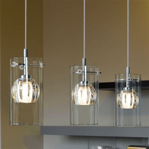 Eglo 93103 Ricabo Triple Transparent And Satinated Glass Glass Pendant Lights For Kitchen