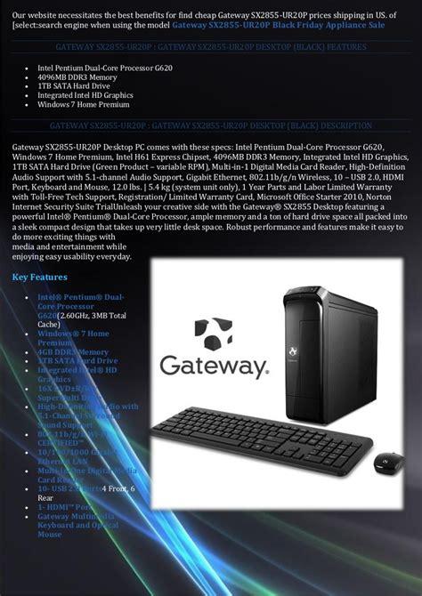 desktop computers best deals best buy gateway sx2855 ur20 p black friday desktop