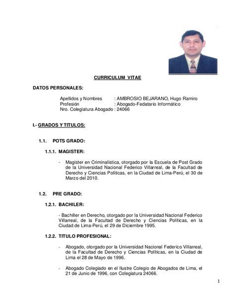 Modelo De Curriculum Vitae Para Abogados Argentina Hoja De Vida Hugo Ambrosio