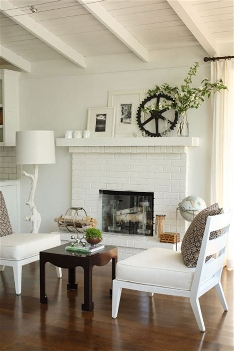 white painted brick fireplace fantastic