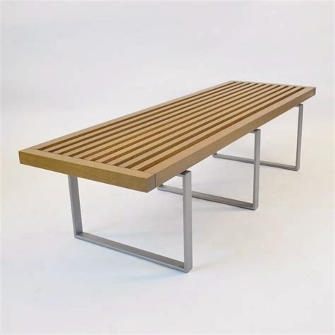 wood bench metal legs teak wood slat bench w metal legs contemporary indoor