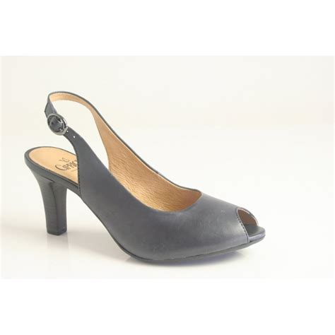 caprice caprice navy blue leather court shoe with peep toe