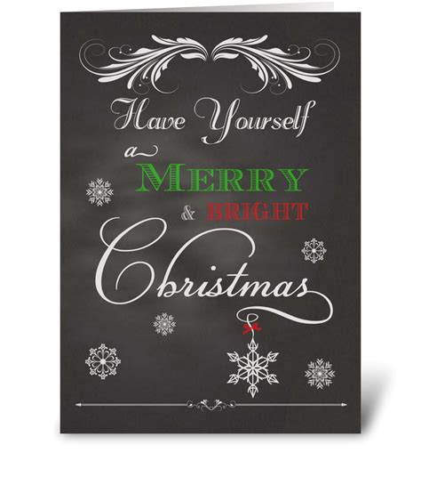 chalkboard merry bright christmas send  greeting card designed  simply put  robin