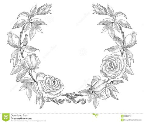 roses wreath stock vector illustration of hand greeting