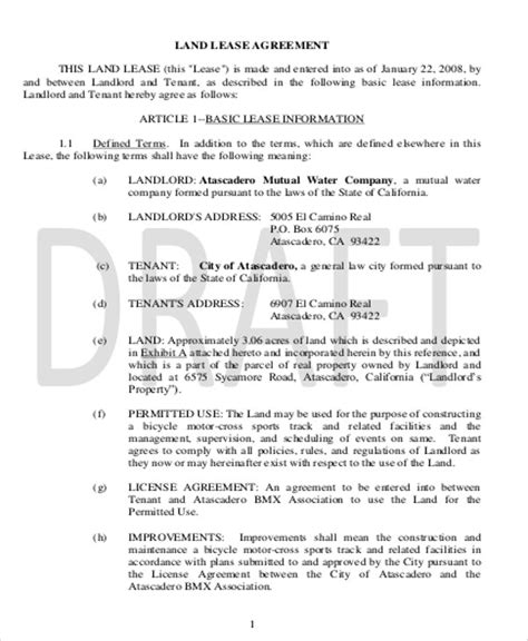 warehouse lease agreement template sle commercial lease agreement in pdf 10 exles in