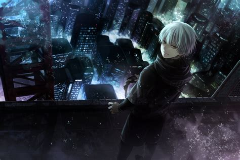 wallpaper anime kaneki ken as a ghoul tokyo ghoul gif 92148 a ghoul in the top of building computer wallpapers