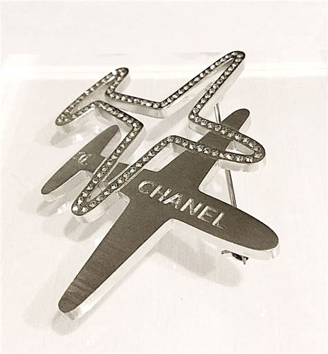 Plane Brooch new chanel airline runway silver airplane