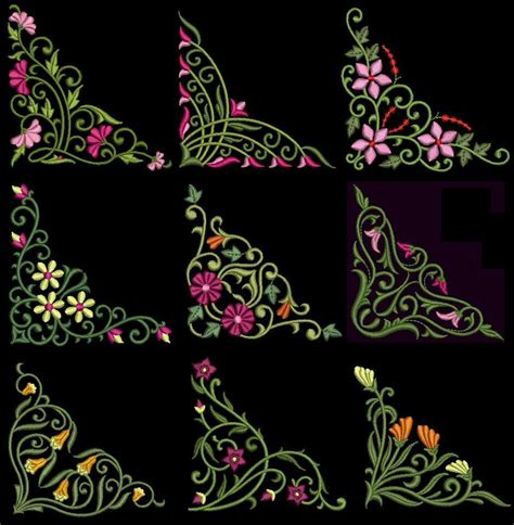 design embroidery machine exotic floral corners machine embroidery design cd 4x4 for