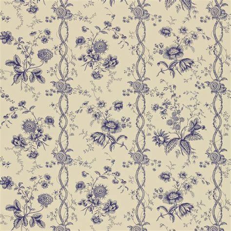 Lorient Decor Curtain Fabric Floral Stripe Wallpaper Ecru Indigo Degtfs103