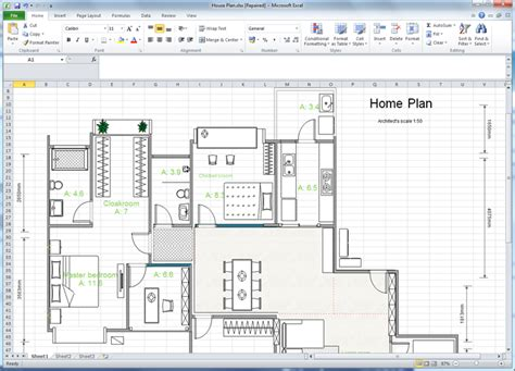 Draw Floor Plans In Excel | create floor plan for excel