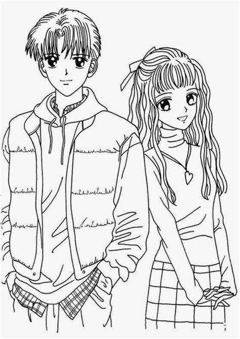 coloring page of a girl and boy coloring pages anime coloring pages free and printable