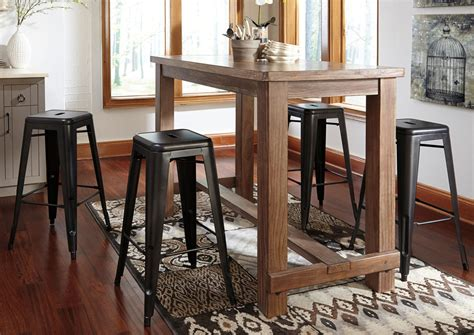 Dining Bar Table Curly S Furniture Pinnadel Bar Table W 4 Gray Stools