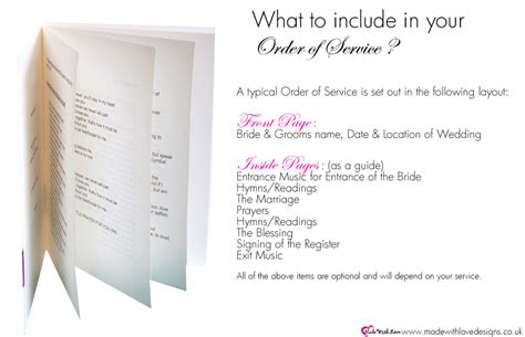 made with love order of service booklets wording