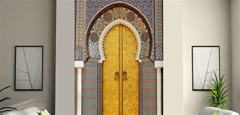 Stickers porte orientale: stickers porte marocaine trompe l'oeil pas cher