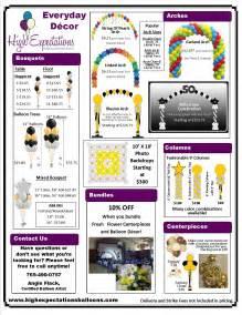 wedding decorator prices home www highexpectationsballoons