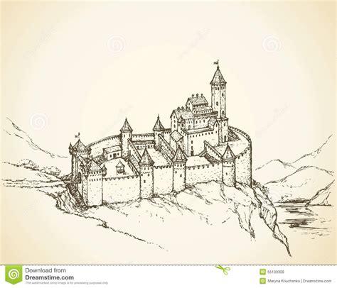 European House Plan castle romanesque style vector drawing stock vector