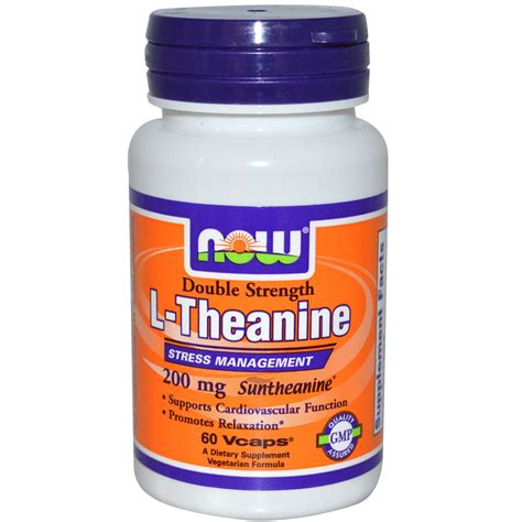 supplement l theanine now foods l theanine strength 200 mg 60 veggie