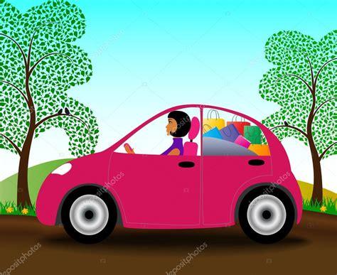 ragazze al volante ragazza al volante di una macchina rosa con lo