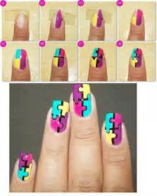 how to make puzle nail art step by step diy instructions