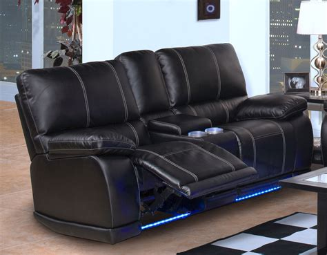black leather power rocker reclining loveseat with led