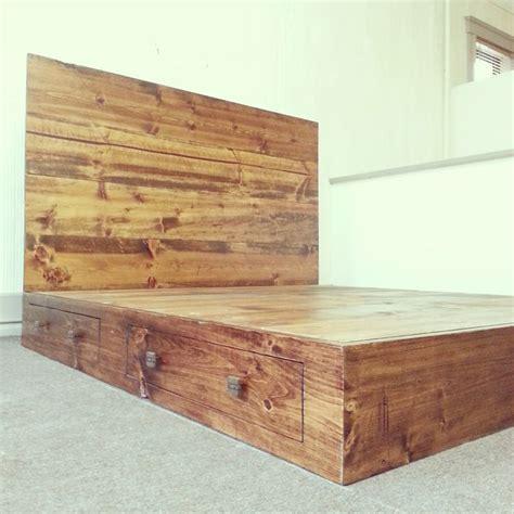 rustic california king size platform bed frame