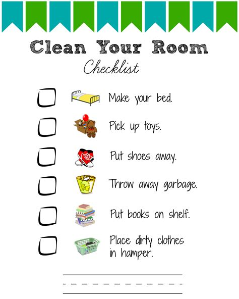 bedroom cleaning checklist printable room cleaning checklists for kids room