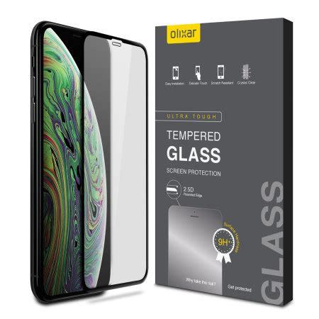 olixar iphone xs max full cover glass screen protector black