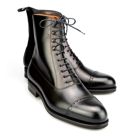 balmoral boots in box calf black carmina