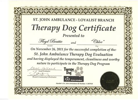 for therapy certification cresswell dobermans