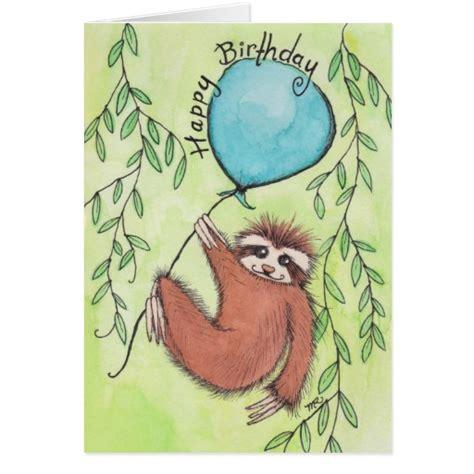 Sloth Birthday Cards Cute Sloth Happy Birthday Greeting Card Zazzle
