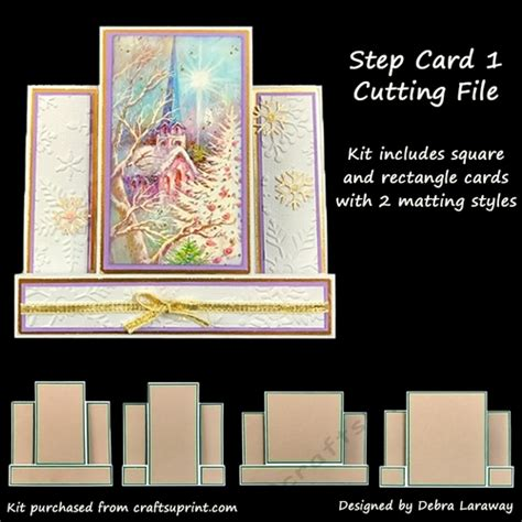 Center Step Card 1 Card Blank Cutting File Template Cup783001 1571 Craftsuprint Craft Cms Templates