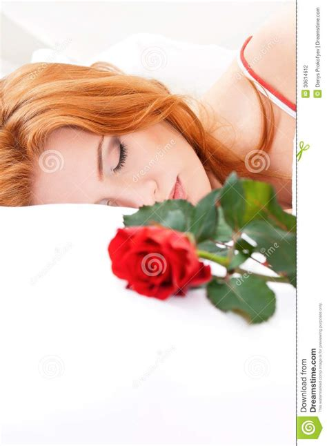 girl lying bed with flowers girl on bed stock photography image 30614612